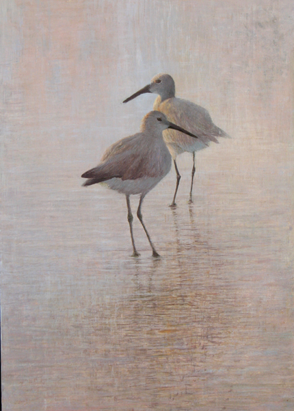 Ambrose egg tempera painting of Willets